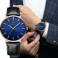 Fashion Men Leather Band Analog Quartz Round Simple Wrist Watch Business Watches
