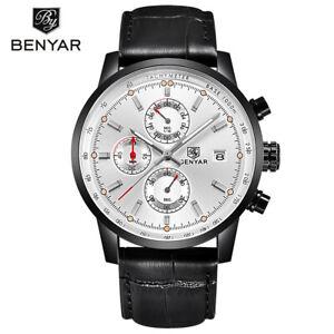 BENYAR Date Chronograph Leather Band Men Military Quartz Wrist Watch BY-5102 Box