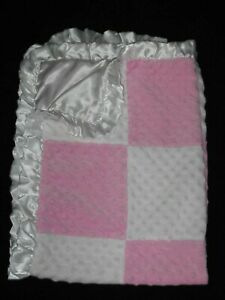 Carters Just One Year Patchwork Baby Blanket Pink White Minky Dots Satin Ruffle