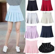 Women Lady Tennis High Waist Pleated Plain Mini Skirt School Girl Skater Shorts@