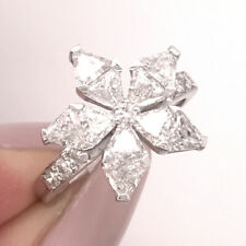 2.05ct Floral Trillion Cut Diamond Ring in 18k White Gold