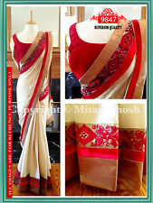 Latest Designer Bollywood Inspired Party Wear Off White and Red Designer Sarees