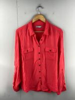 Just Jeans Women's Long Sleeve Button Up Shirt Size 14 Pink