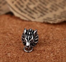SOLID FINAL FANTASY VII CLOUD WOLF EARRING STUD 925 STERLING SILVER 1PC