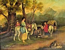 Wonderful American School Original Oil Painting of Travelers With 2 Dogs, c.1847