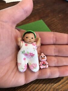 OOAK Polymer Clay Full-Sculpt Posable Dollhouse/Barbie Baby With Accessories