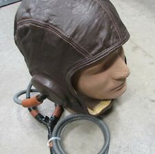 Pre or WW2 Era US Navy USMC Leather Flight Helmet Gear Gosport Communications