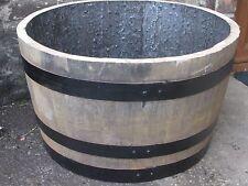 """Oak barrel planters 25"""" (63cm) diameter x 15"""" (38cm high) painted bands"""