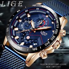 Superbe Montre Luxe LIGE Top Qualité Homme Cuir Date Chronograph Etanche