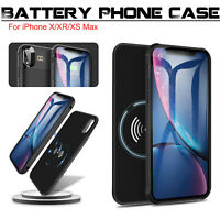 For iPhone X/XR/XS Max Qi Wireless Battery Case Charger Charging Power Bank Back