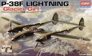 Academy 12208 1/48 P-38F Lighting Glacier Girl Lockheed Plastic Model Kit