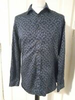"Ted Baker Floral/paisley patterned shirt 16.5"" collar Navy 23"" ptp WORN ONCE"