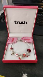 """TRUTH 925 Sterling Silver Charm Bracelet with 7 charms 20cm 8"""" With Box"""