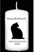 Cellini Candles Black Cat Silhouette Candle Personalised Gift Special  #2