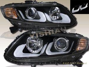 12-13 Civic 2/4 Door Black U-Bar Projector LED Headlights with Amber Reflectors