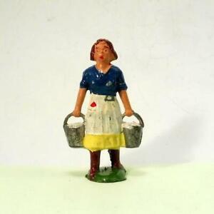 Vintage Lead Farm - CHARBENS Very Rare MILKMAID Holding Pails - Britains Era