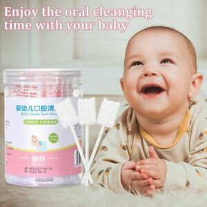 30x Baby Tongue Cleaner Disposable Gauze Paper Toothbrush Rod Oral Stick White