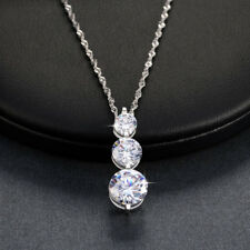 Round Clear CZ Crystal Pendant Necklace 18'' Chain Lady Wedding Valentine's Gift