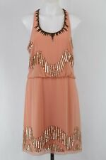 Adrianna Papell Peach Beaded Sleeveless Drop Waist Side Zip Dress Size 14