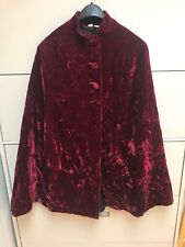Vintage Crushed Red Velvet Cape Size Small Victorian Costume Coat Jacket Goth