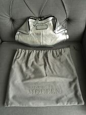 "Authentic Alexander McQueen ""De Manta"" Clutch In Metallic Silver Leather"
