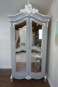 French Rococo Double Armoire Wardrobe In Mercury Grey - Shabby Chic Wardrobe