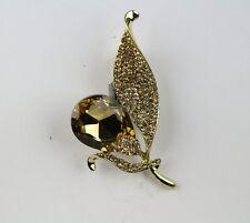 Indian Fashion Jewelry Golden Cubic Zirconia Handmade Saree Pin Brooch