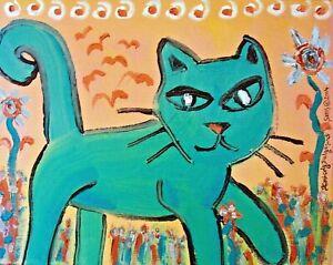 5x7 Aquamarine Hunter CAT Art PRINT of Painting Artwork by KSams