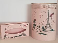VINTAGE WOLFF PRODUCTS PINK POODLE PARIS BATHROOM TRASH CAN/TISSUE HAND PAINTED