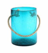 "New 10"" Hand Blown Art Glass Cylinder Vase TQ Bluegreen with Handle Decorative"
