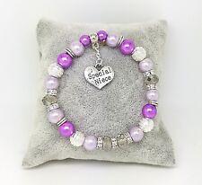 Purple Crystal Personalised Charm Bracelet Wedding Birthday Christmas Gift
