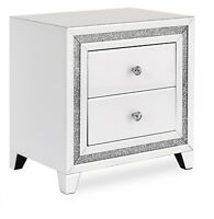 Snow Pearl White Glass Two Drawer Bedside Table