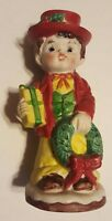 Christmas Boy Bank Vintage Ceramic Bisque Figurine 1979 CMI Canton Massachusetts
