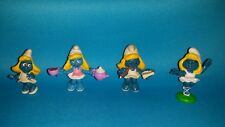 Smurfs Lot 4 Smurfette Figures Vintage Toy Miniature Figurines Peyo! EUC
