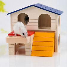 FM- 2LAYER HAMSTER MICE SQUIRREL HIDDEN PLAY VILLA WOODEN HOUSE SMALL PET NEST D