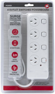 4 Way Outlet SURGE PROTECTOR Power Board w/ INDIVIDUAL SWITCHES 1 METER 240V SAA