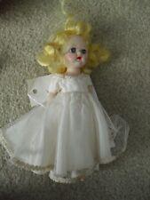 "Vintage 1950s Hard Plastic Jointed Knees Blonde Bride Walker Girl Doll 8"" Tall"