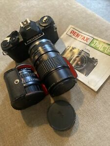 Vintage Retro Pentax MV 35mm SLR Camera with Lenses and Manual