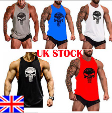UK Punisher Skull Men Gym Muscle Shirt Tank Top Bodybuilding Sport Fitness Vest