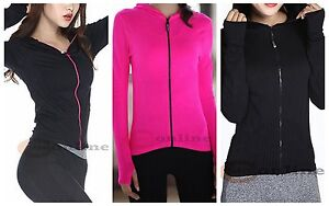 Gym Jogging Training Hoodie Zip Neon Yellow Jacket Seamless Fast drying Top