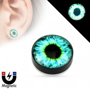 False Ear Plug Magnetic Glow IN The Dark Eye Blue