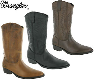 Wrangler Cowboy Boots Western Tex Hi Calf Leather Cuban Heel Pull On UK 7-12