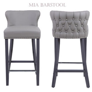 Tufted Back Bar Stool In Deep Button | Faux Leather | NO CUSTOMS CHARGES