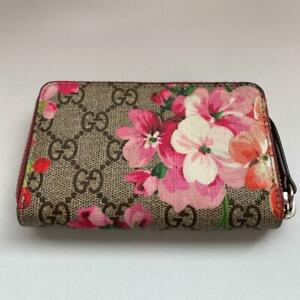 GUCCI GG Blooms Card Case Coin Purse case Zippy Wallet Floral Pink