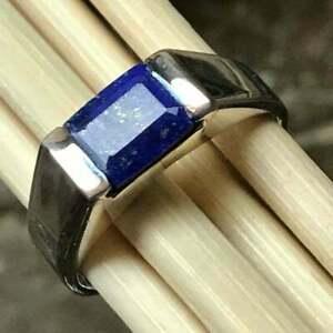 Natural Lapis Lazuli Gemstone with 925 Sterling Silver Men's Ring