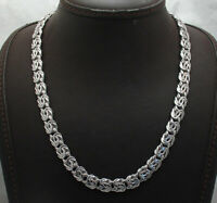 Technibond All Shiny Byzantine Chain Necklace Anti-Tarnish Real 925 Silver