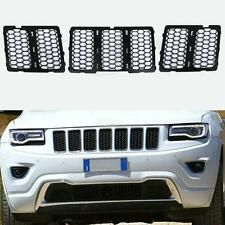 Front Mesh Grill Insert Honeycomb For Jeep Grand Cherokee 2014-2016 Black 3pcs