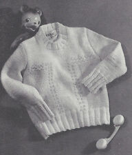 Vintage Knitting PATTERN to make Baby Crew Neck Pullover Sweater Sizes 1, 2, 3