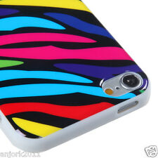 Apple iPod Touch 5 Candy Skin Tpu Gel Cover Case Accessory Rainbow Zebra