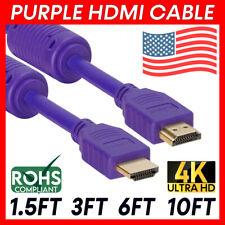 Purple HDMI Cable 4K HDMI Cord HDTV ARC 3D Ethernet Laptop Nintendo Switch PS5